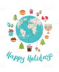 merry and happy hanukkah global celebration stock vector