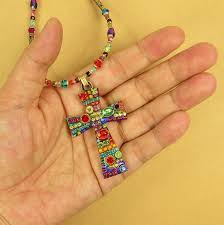 bead cross pendant necklace images Michal golan large multi bright crystals cross pendant beaded jpg