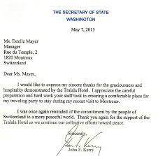 lettre de motivation cuisine collective diplomatie la lettre sympa de kerry à un hôtel montreusien