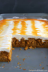 pumpkin caramel cream cheese poke cake delightful e made