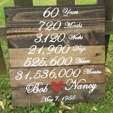 60th anniversary gifts wedding anniversary wood sign years months weeks days hours
