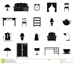 icon set with furniture and household items vector stock
