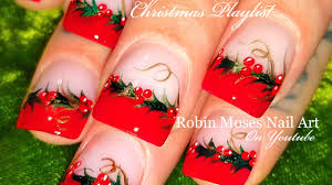 christmas holly nail art best nail 2017 holly nail art