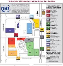 university of phoenix stadium parking map parking map university