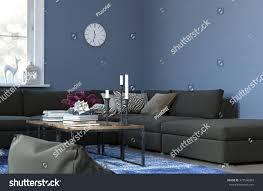 cozy living room clock hanging on stock illustration 377546062