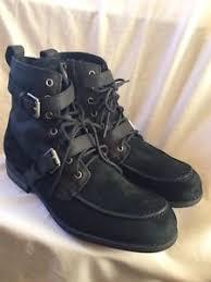 s ugg black leather ugg black leather suede lace zip side boots 11 5 ebay