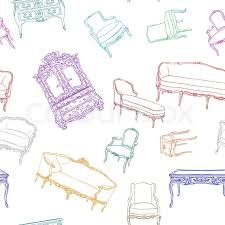Shabby Chic Wallpapers by Rococo Furniture Pattern Isolated On White For Shabby Chic
