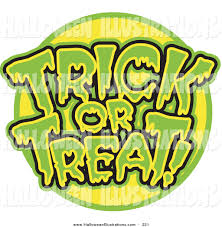 spooky clip art halloween clip art of a spooky green and yellow trick or treat