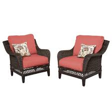 Patio Lounge Furniture by Hampton Bay Woodbury Patio Lounge Chair With Chili Cushion 2 Pack