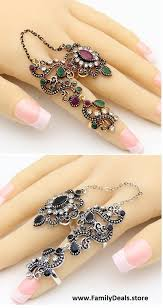 beautiful finger rings images Beautiful flower gold or silver finger stacking rings with link jpg