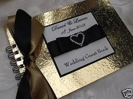 black guest book personalised gold black wedding guest book with diamante heart