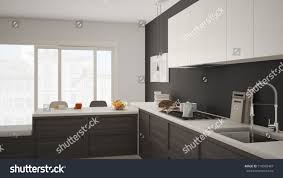 white and grey modern kitchen modern kitchen wooden details parquet floor stock illustration