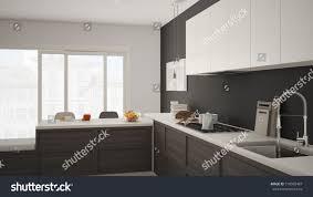 white and grey modern kitchen modern kitchen wooden details parquet floor stock illustration