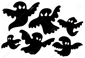 Halloween Silhouettes by Scary Ghost Silhouettes Vector Illustration Royalty Free