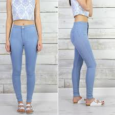 womens glamorous light blue pale wash skinny fit high waisted