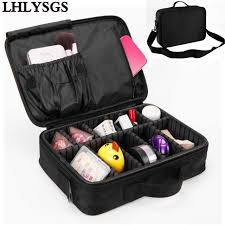 Professional Makeup Carrier Lhlysgs Brand Big Cosmetic Cases Women Double Layer Professional
