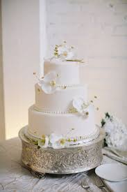 classic wedding cake with white orchids elizabeth anne designs