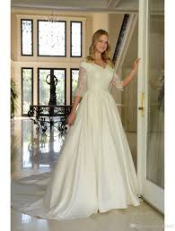 wedding dress nyc discount lace satin modest wedding dresses with 3 4 sleeves