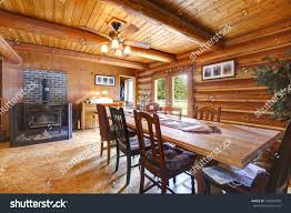 log cabin rustic living room large stock photo 106425056