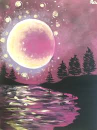 social painting class pink night gold moon tickets fri 06 10