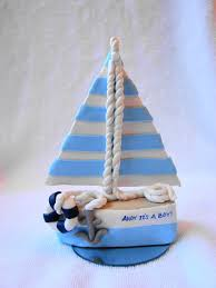 sailboat cake topper custom sailboat baby shower polymer clay cake topper