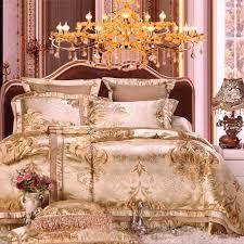Royal Bedding Sets Luxury Gold Stain Jacquard Bedding Set King Size Wedding