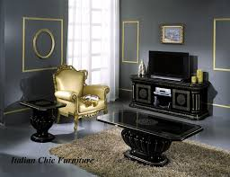 Italian Tv Cabinet Furniture Rossella Plasma Tv Cabinet Black U0026 Gold Versace Style