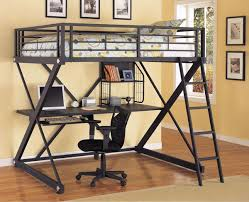 Powell ZBedroom Full Size Metal Loft Bed With Study Desk - Metal bunk bed with desk