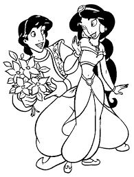 alladin coloring pages aladdin coloring pages disney aladdin gives jasmine flowers