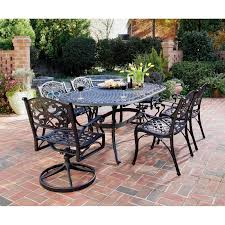 Cast Aluminum Patio Tables Home Styles Biscayne Black Cast Aluminum Patio Dining Set Seats