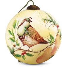 precious moments partridge and pears shaped glass