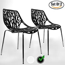 Birch Dining Chairs Amazon Com Urbanmod Black Modern Dining Chair Set Of 2