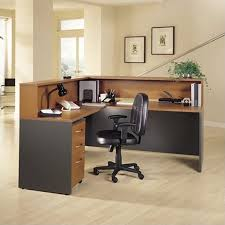 bush business series c l reception hutch desk in auburn maple