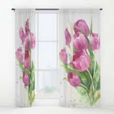Petal Pink Curtains Aquarelle Window Curtains Society6