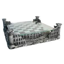 pewter u0026 glass coliseum chess set