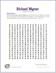 printable word search worksheets richard wagner free famous composer word search worksheet