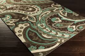 Area Rug Aqua Surya 1158 Chocolate Aqua Beige Closeout Area Rug