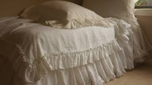 ruffled linen sheets in vintage ruffle style handcrafted by
