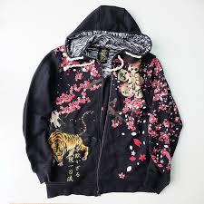 japanese tiger cherry blossom tiger zebra hoodie sukajan