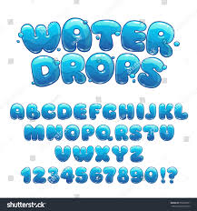 thanksgiving bubble letters cartoon water drops font funny blue stock vector 352696751