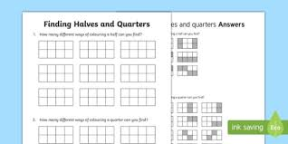 halves and quarters activity sheet worksheet