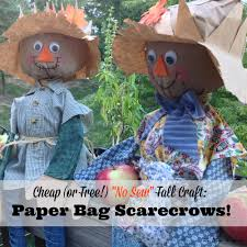 cheap and easy fall craft diy paper bag scarecrows the busy