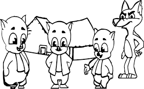 3 little pigs and the big bad wolf coloring page wecoloringpage