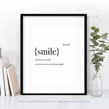 home decor definition smile dictionary definition meaning printable wall art happy