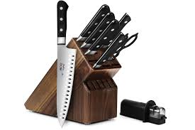 mac professional knife block set 9 piece acacia mac chef knives
