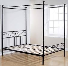 Black Four Poster Bed Frame Bedroom Four Poster King Size Beds Frame Made Of Metal In Black