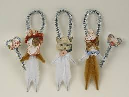 chenille cat ornaments shabby chic
