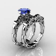 black sapphire rings images Art masters caravaggio 10k white gold 1 25 ct princess blue jpg