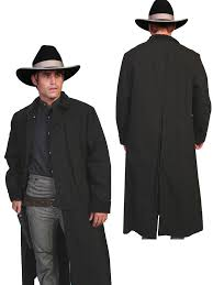 scully rangewear mens black 100 cotton long overcoat duster coat