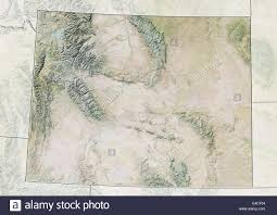 United States State Map by State Of Wyoming United States Relief Map Stock Photo Royalty